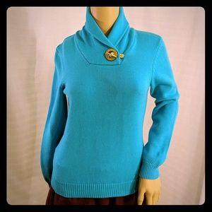 Ralph Lauren shawl neck cotton sweater Aqua XS